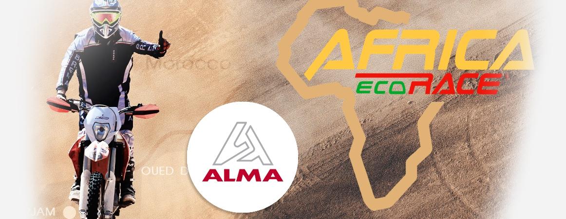 Africa Eco Race 2018 ALMA sponsor de Laurent Arnaud sur moto KTM 450. Crédits : ©alma-france.com 2017