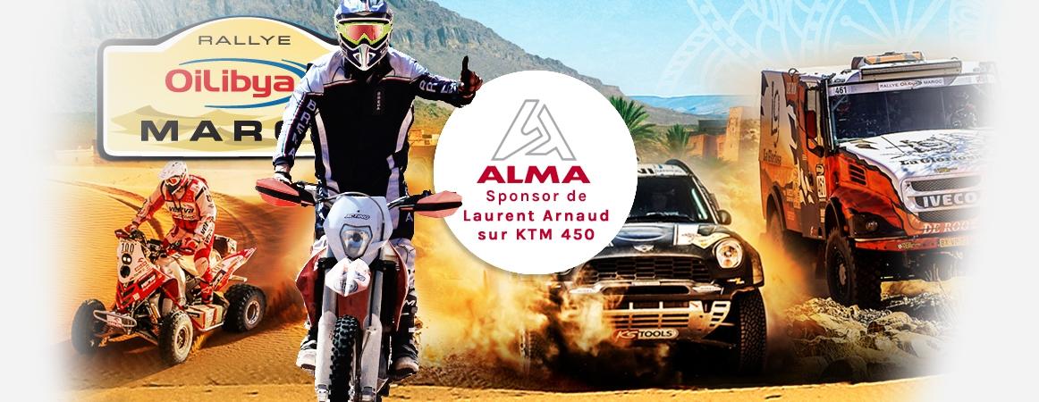 Rally du Maroc du  4-10 Oct. 2017 ALMA sponsor de Laurent Arnaud sur moto KTM 450. Crédits : ©alma-france.com 2017