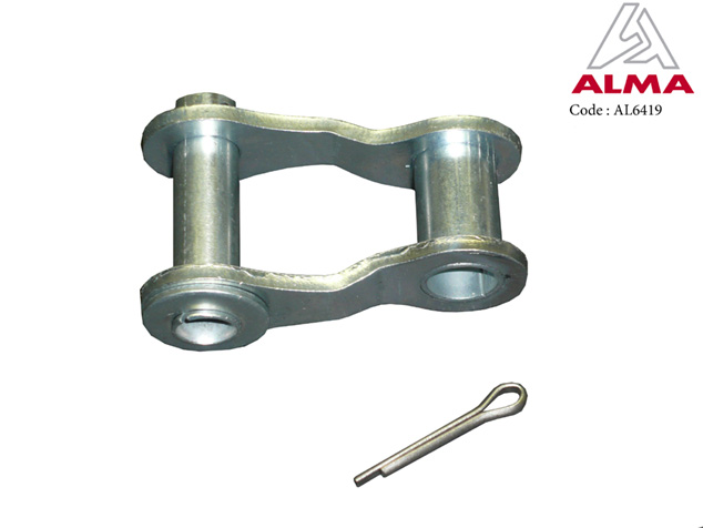 Zinc plated quick-link, 41.75 without bucket chain roller. Crédits : ©ALMA